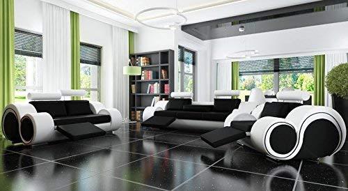 JVmoebel Designersofa Sofagarnitur Sofa Couch Polster Garnitur Ledersofa 3+2+1 Berlin mit Relaxfunktion Sofort lieferbar