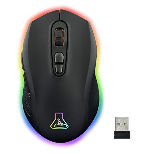 THE G-LAB Kult Neon Mouse da Gaming Wireless Ricaricabile - Preciso e Reattivo, Wireless Gaming Mouse 2400 DPI, RGB LED, Batteria Lunga Durata, 7 Pulsanti, Ultra Leggero, Compatibile PC/PS4/Xbox One