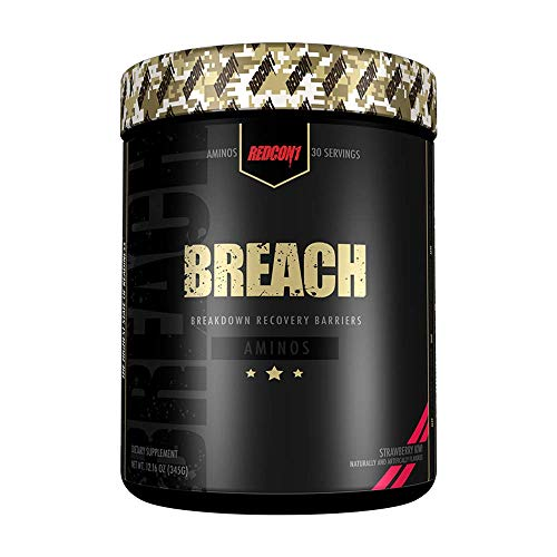 Redcon1 Breach, Branched Chain Amino Acid Powder (BCAA) Supplement with Coconut Water Powder. Daily Hydration and Workout Support. Suitable for Men, Women and Athletes - 30 Servings (Strawberry Kiwi)