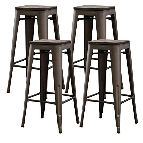 Bonzy Home Bar Stools Set of 4, 24 inches Indoor Outdoor Metal Bar Stools with Wood Seat, High Backless Stackable Home Patio Kitchen Dining Stool Backless Bar Chair