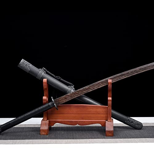 XGMSD Samurai Sword Iaido Espadas de Madera,Katana de Madera de Palisandro Hecha a Mano con Funda,Cosplay,Disparos de Cine y televisión,Accesorios de Halloween,Arma de práctica Bokken sin Bordes