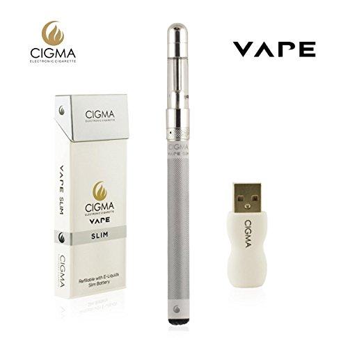 Cigma Vape Slim Weiß, Die Kleinste und Dünnste, Auflad- und Nachfüllbare E-Zigarette der Welt, E-Zigarette Starterset, E Shisha, Wiederaufladbare Batterie, Auffüllbar, Verdampfer