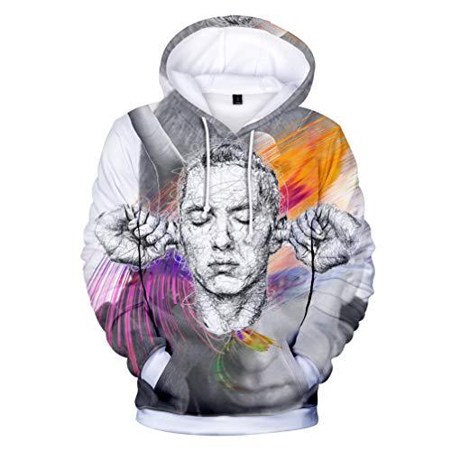 Herren Hoodie,3D Drucken Muster Mode Freizeit Hoodie Für Sänger Eminem Element,Unisex Bequem Atmungsaktiv Polyester Langarm T-Shirt M-4XL,H1,S