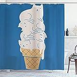 DYCBNESS Rideau de Douche,Dessin animé Bleu Mignon Fondant la crème glacée de Chat,Rideau de Douche avec des Crochets Haute...