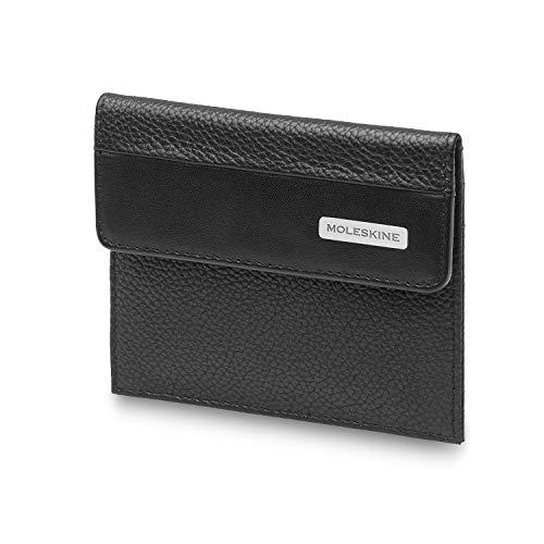 Moleskine - Monedero clásico, 100% Piel con 2 Bolsillos para Tarjetas de crédito y Billetes, tamaño 10.5 x 2.6 x 14 cm, Negro