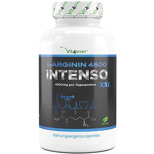 Vit4ever® L-Arginin 4500 INTENSO - 420 vegane Kapseln - Hochdosiert mit 4500 mg L-Arginin - 100% L-Arginin Base aus Fermenation - Premium Qualität - Vegan