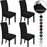 NORTHERN BROTHERS Dining Chair Covers Stretch Chair Covers Parsons Chair Slipcover Chair Covers for Dining Room Set of 4,Black