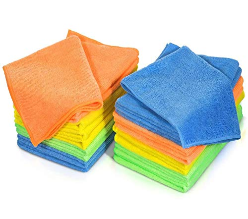 Mastertop 24Pcs Mikrofasertücher,Reinigungstücher Set,Putzlappen verschiedene Farben(40 x 30 cm,6 Blau, 6 Grün, 6 Gelb, 6 Orange) für Küche