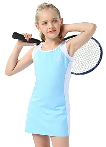 Willit Girls Tennis Golf Dress Outfit Kids Cotton Sleeveless Active Sports Dress with Shorts Blue M