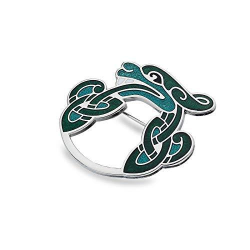 Sea Gems Celta Dragón Broche Bañado en Plata Verde Empaque de Regalo