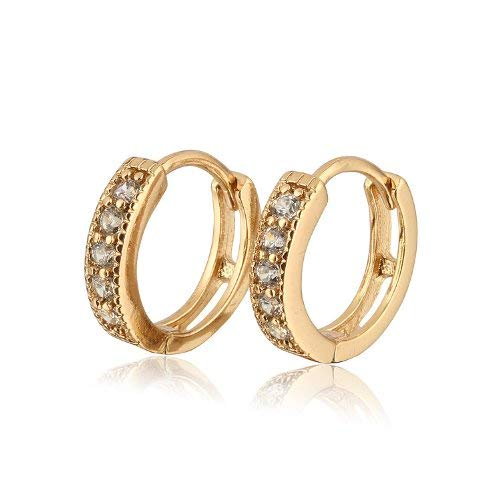 18 k Gold Plated Jewellery Small Girls Hoops with white Zircons Earrings E524