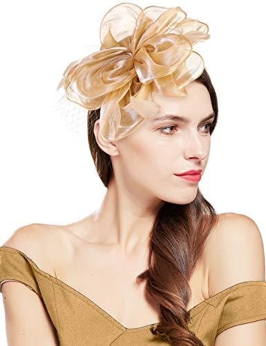 Coucoland Damen Fascinators Hut Elegant Blumen Feder Fascinator Haarreif für Hochzeit Cocktail Tee Party Derby Haar Kopf Accessoires Damen Karneval Fasching Kostüm Zubehör (Champagner)