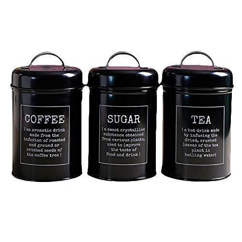 WillowswayW 3PcsSet Coffee Tea Canister Spice Jar Sugar Food Storage Container Home Kitchen Supply