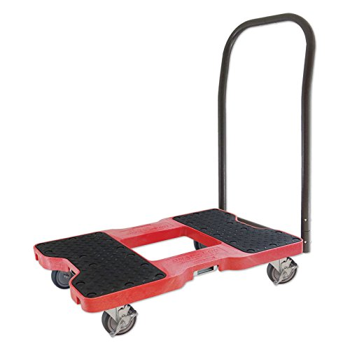 SNAP-LOC 1500 LB Push CART Dolly RED with Steel Frame, 4 inch Casters, Push Bar and Optional E-Strap Attachment