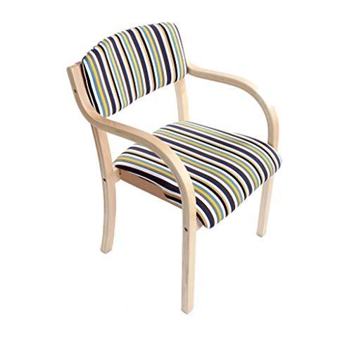 Chaise en bois massif à manger Chaise en bois européenne Accueil Balcon Bureau Fauteuil Cafe Hôtel Sièges/Rayures-pack de 1