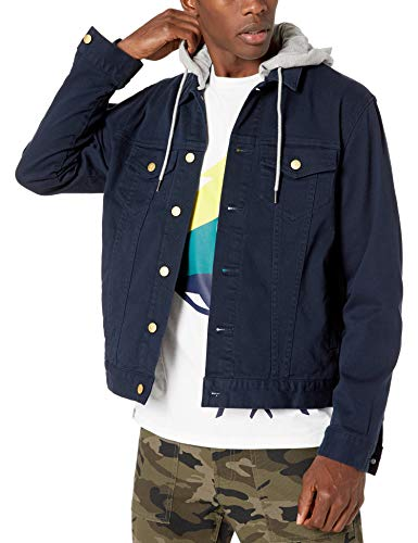 LRG Men's Lifted Research Collection Hooded Denim Jacket, Navy Blazer, S