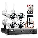 Kit de cámara de vigilancia inalámbrica con 1TB HDD, NVR de 8 CH 1080p, cámara IP WiFi de 4X 2MP, visión Nocturna, Impermeable, Acceso Remoto, detección de Movimiento, Alerta por Correo electrónico