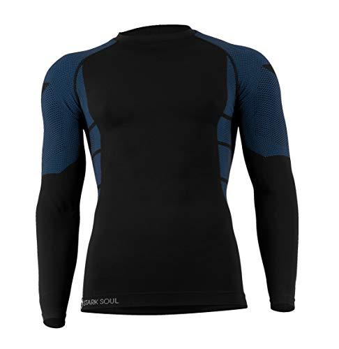 STARK SOUL sous-vêtements Techniques Microfibre pour Homme - Pantalon ou T-Shirt Manches Longues Noir Taille L/XL