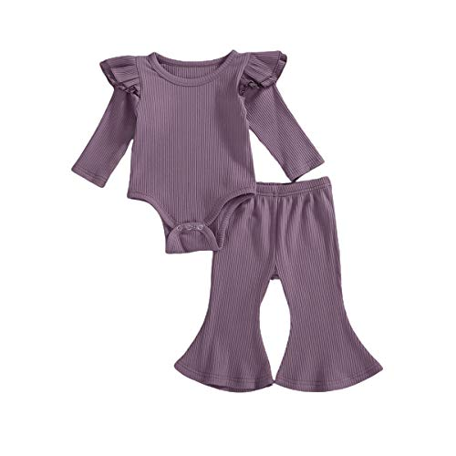 Newborn Baby Girl Bell Bottom Outfit Long Sleeve Romper Bodysuit Top + Flare Pants 2Pcs Clothes Set (Purple, 0-3 Months)