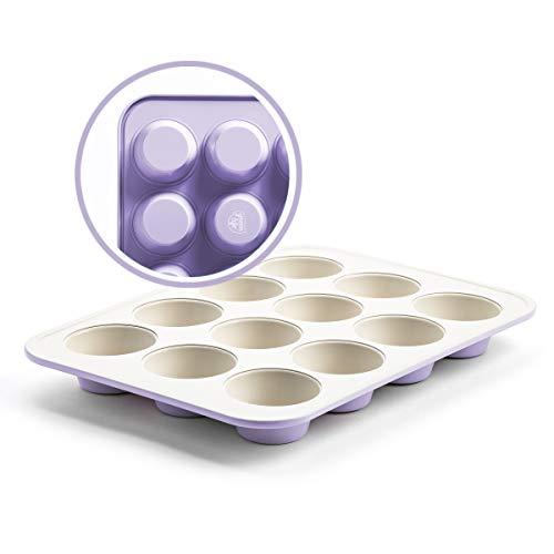 GreenLife Bakeware Healthy Ceramic Nonstick, Muffin Pan, 12 Cup, Lavender