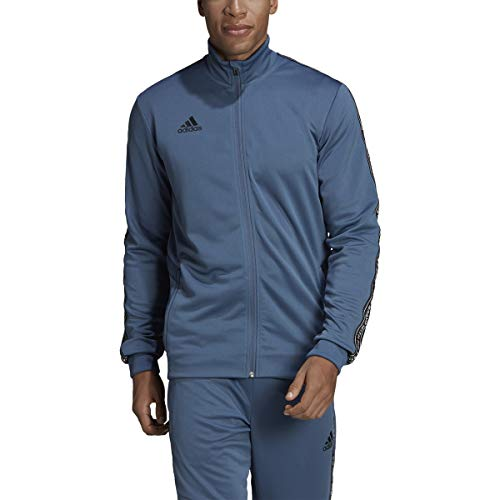 adidas Men's Essentials 3-stripes Color Blocked Tricot Track Jacket (Tech Ink/Black, Small)