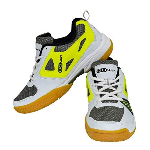 GOWIN Staunch Badminton Shoes White Lime from Size 11KIDS Upto UK10 Adults with Charged Back Pack Intruder Blue with Shoe Pocket (White Lime, 8)