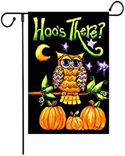 """Fiuqaomy Hoo's There Owl Pumpkin Flag Vertical Double Sized, Holiday Burlap Yard Outdoor Decoration 12.6"""" 18.5"""""""