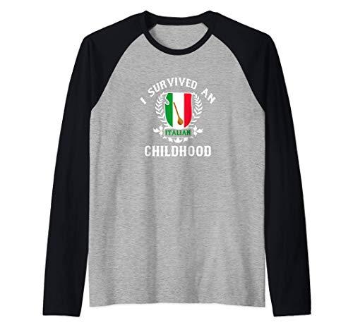 I Survived An Italian Childhood Flag Raglan Baseball Tee