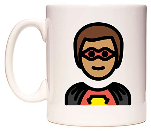 WeDoMugs Male Superhero: Medium Skin Tone Emoji Becher