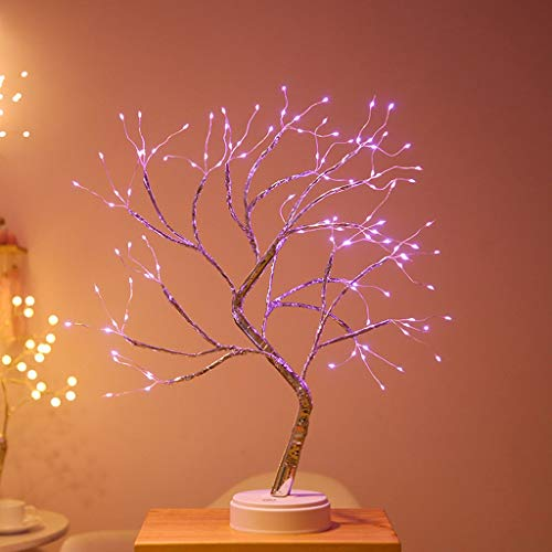 Lámpara de Mesa Bonsai Tree, Luces LED de Alambre de Cobre, USB/Alimentado Por Batería, Interruptor Tactil, Luz de Hadas Artificial de Bricolaje, para Dormitorio, Boda, Festival, Fiesta