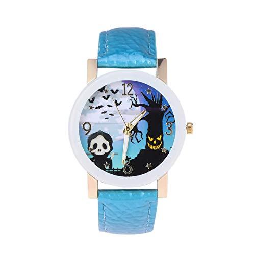 Hemobllo Relógio de pulso feminino, Halloween, fantasma, abóbora, couro PU, quartzo, relógio de pulso para mulheres, crianças, meninas (branco), Lago azul, 4*24 cm