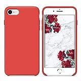 SURPHY Funda iPhone SE 2020, Funda para iPhone 7 iPhone 8 Silicona Case, Carcasa Silicona Líquida con Forro de Microfibra, Compatible con iPhone 7 iPhone 8 iPhone SE 2020 4.7', Rojo