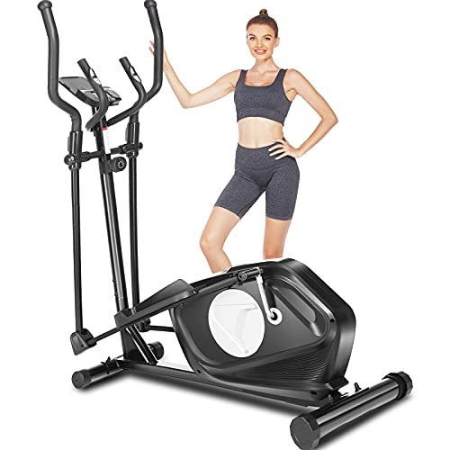 FUNMILY Elliptical Machines for Home Use, Cardio Cross Trainer Equipment with 8 Levels Magnetic Resistance, Elliptical Training Machines with LCD Monitor and Heart Rate Sensor,390 LBS Weight Limit