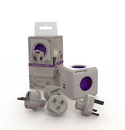Allocacoc PowerCube DuoUSB ReWirable Travel Plugs, Ladrón Multiple de Viaje con 2 enchufes de USB y con enchufes de Viaje para DE/FR/EE UU/UK/AUS, Color Magenta