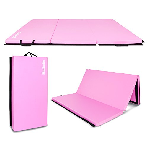 Matladin 6' Folding Tri-fold Gymnastics Gym Exercise Aerobics Mat, 6ft x 4ft x 2in PU Leather Tumbling Mats for Stretching Yoga Cheerleading Martial Arts (Pink)