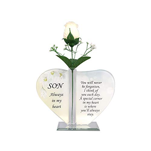 Glass Rose Memorial Plaque, Heart-Shaped Graveside Ornament/Positivity Gift, Engraved with a PersonaliZed Quote/Message for your Loved Ones (SON)