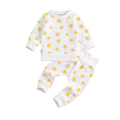 CiKiXZ - Conjunto de ropa para bebé y niña de 0 a 6 meses, diseño de margaritas y camiseta de manga larga + pantalón + cinta para recién nacidos sudaderas para otoño e invierno Sol blanco. 0-6 Meses