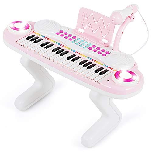 COSTWAY 37 Tasten Klaviertastatur mit Licht, Kinder Keyboard mit Ständer, Klavier Spielzeug elektronisch, Musikinstrument mit Aufnahme- und Abspiel-Funktion, inkl. Musikpartitur und Mikrofon (Rosa)