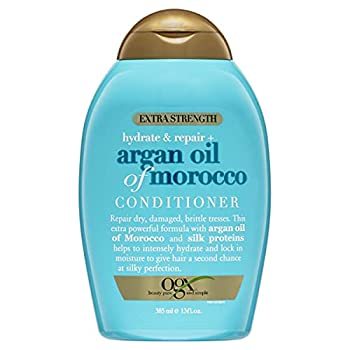 OGX Extra Strength Hydrate & Repair + Argan Oil of Morocco Conditioner for Dry Damaged Hair Cold-Pressed Argan Oil to Moisturize Hair Paraben-Free Sulfate-Free Surfactants 13 Fl Oz