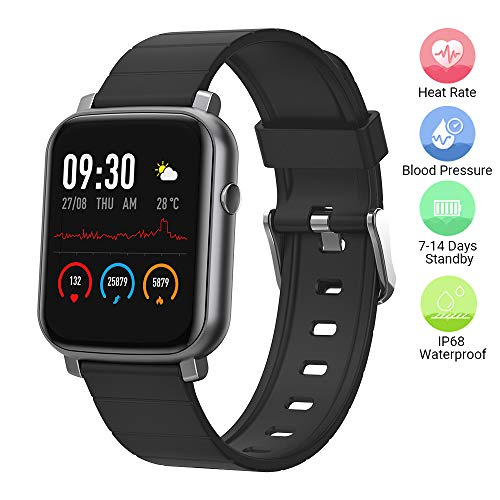 Anmino Smart Watch with Heart Rate Monitor BP Fitness Tracker IP68 Waterproof Activity Tracker Full Touch Screen Smartwatch Sleep Monitor Calorie Step Counter SMS Call Notification(Black)