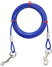 HACRAHO Cable de amarre para perro, 1 paquete de línea de plomo para yardas dobles cabezas de acero correa de amarre con revestimiento de PVC para patio al aire libre, camping, azul
