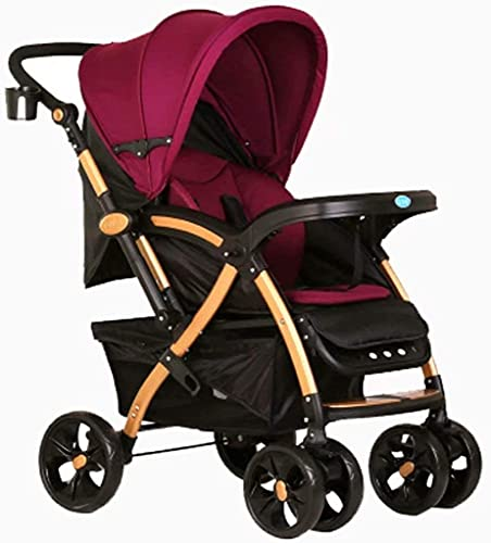 Duwen Cochecito, los cochecitos para bebés pueden sentarse a los amortiguadores plegables reclinados, cinturones de asiento de cinco puntos, placas, toldos, sombrillas y a prueba de viento, amortiguad