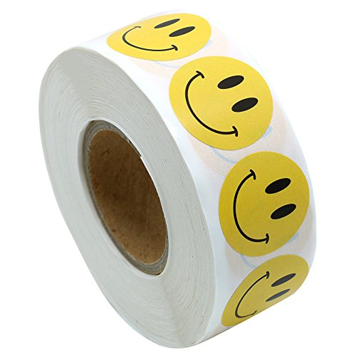 Hybsk Yellow Smiley Face Happy Stickers 1 inch Round Circle Teacher Labels 1,000 Total Per Roll (Yellow)