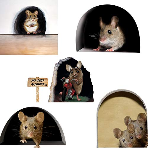 ADICOM 5pcs Funny Mouse Hole Decal Art Stickers,Cute 3D Mouse Hole Baseboard Sticke, Mouse Hole Wall Decal Baseboard Sticker for Home Door Stair Windows Wall Car Décor E
