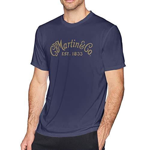 Mens Graphic Tee Shirt Navy Shirts for Men XXL Tshirts for Men with Guitar Martin Printing
