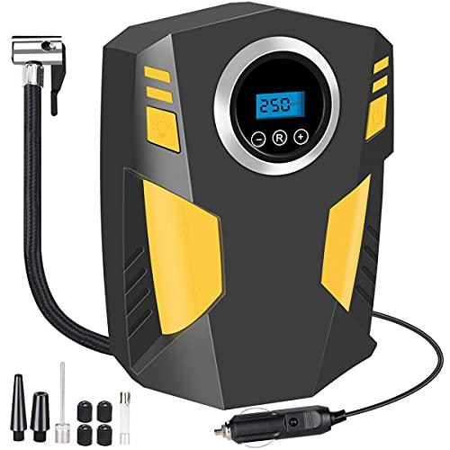 WholeFire Compresor de Aire Coche Inflador Electrico, Inflador Ruedas Coche Portátil 12V 100PSI, Bomba de Aire con 3 Adaptadores de Boquilla y Luz LED para Ruedas Coche, Bicicletas y Otros Inflables