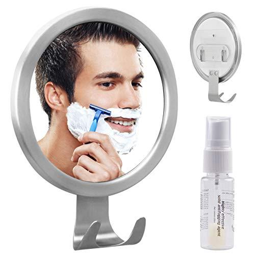 Espejo Antivaho Redondo GlobaLink Espejo Ideal para Afeitar Maquillaje Cosméticos Ducha Cuarto de Baño Pared con Gancho Fijación Adhesiva Agente Anti-Niebla Color Plateado Acero Inoxidable Regalo