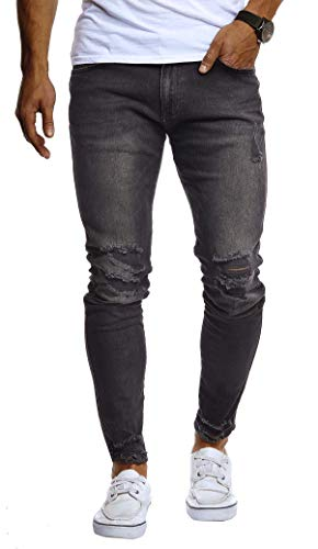 Leif Nelson Herren Hose Jeans Stretch Jeanshose Chino Cargo Hose Jogger Freizeithose Slim Fit LN9145; W33L30, Schwarz