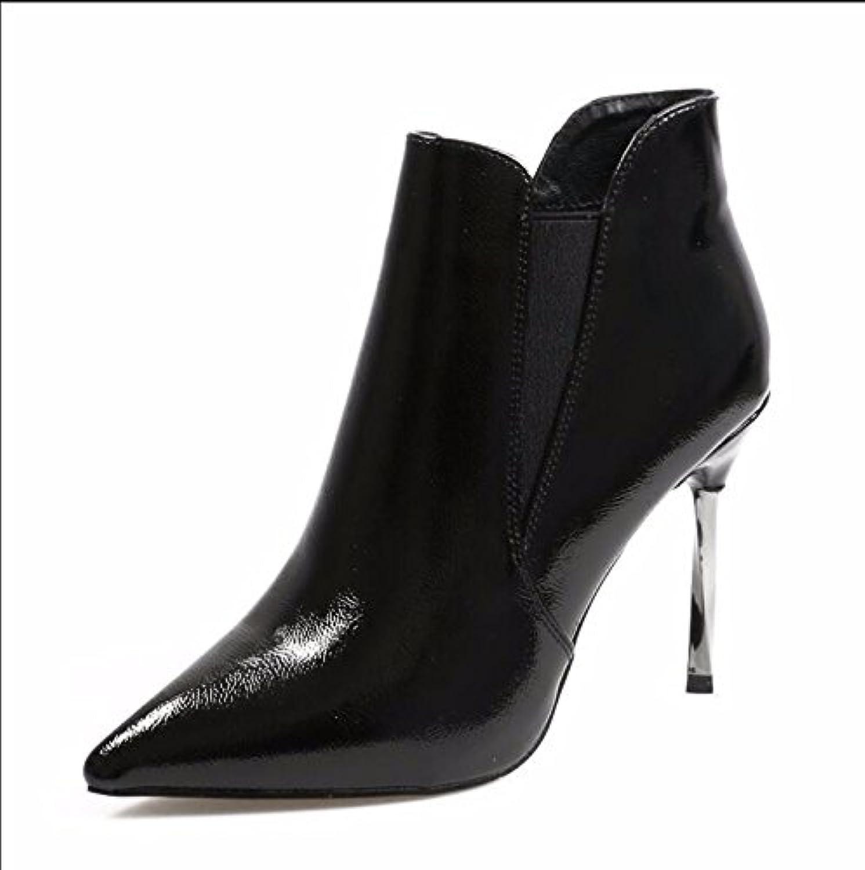 KHSKX, KHSKX, KHSKX, New Autumn and Winter Plus Målade läderskor Vilda Stretchtipp med tunna svarta skor med höga klackar Martin Boots Kvinnliga skor  wholesape billig