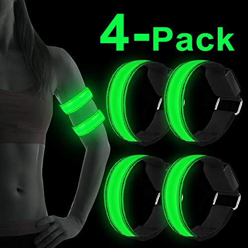 Sylanda Banda Reflectante LED,4 Piezas Brazalete LED Running,Brazalete Reflectante Alta Visibilidad luz para Correr,Practicar Senderismo o Ciclismo